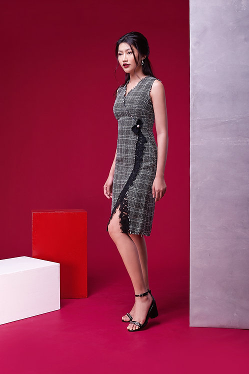 V Neck Tweed Dress With Lace - Grey