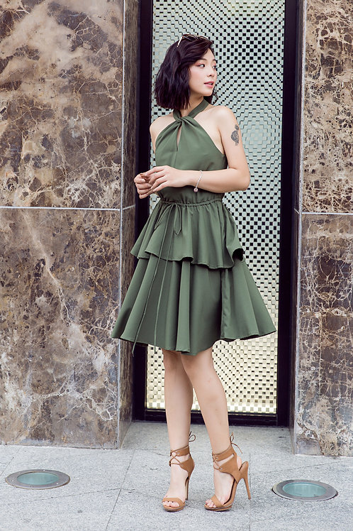 Halter Draw String Dress - Green