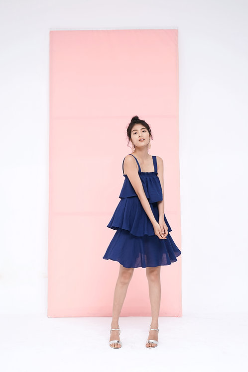 3 Tier Mini Dress - Navy