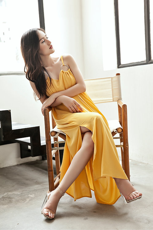 Maxi Dress With Rings - Yellow