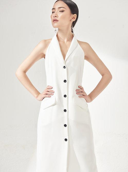 Vest Dress With Black Button - White