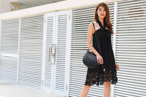 Mini Lace Dress With Bow - Black