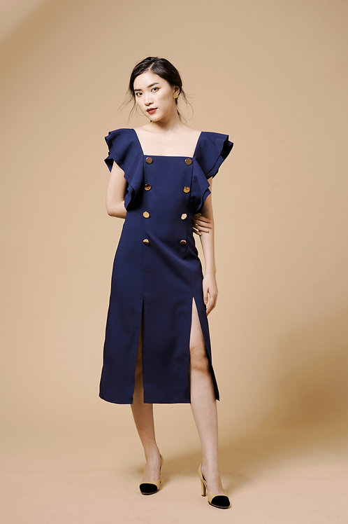 Ruffle Sleeves Midi Dress - Navy