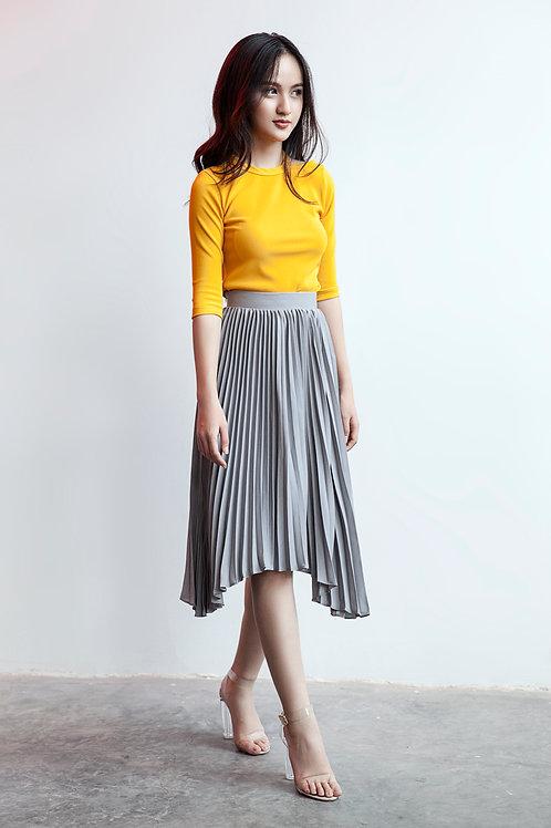 Pleated Hi-lo Skirt - Grey