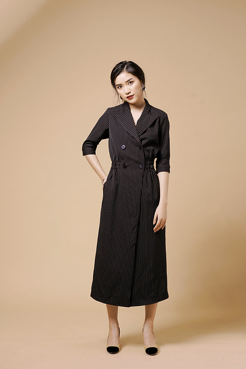 Long Coat Dress - Black Stripes