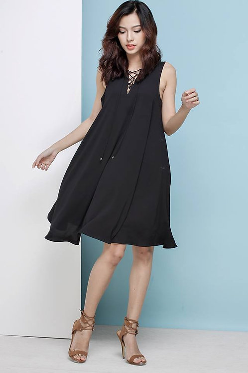 LACE UP DRESS-BLACK