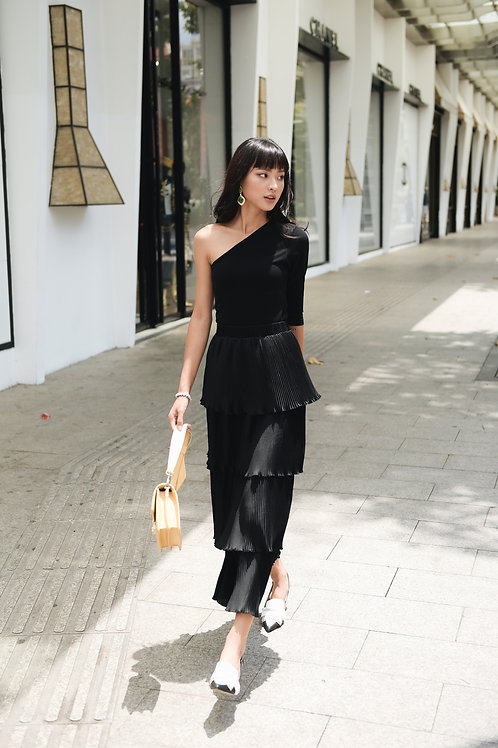 Tier pleated maxi skirt - Black