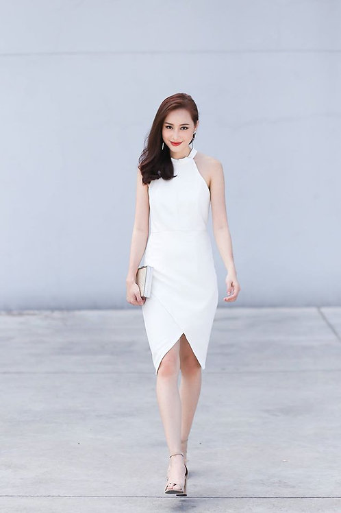 Lace Back Halter Dress-White