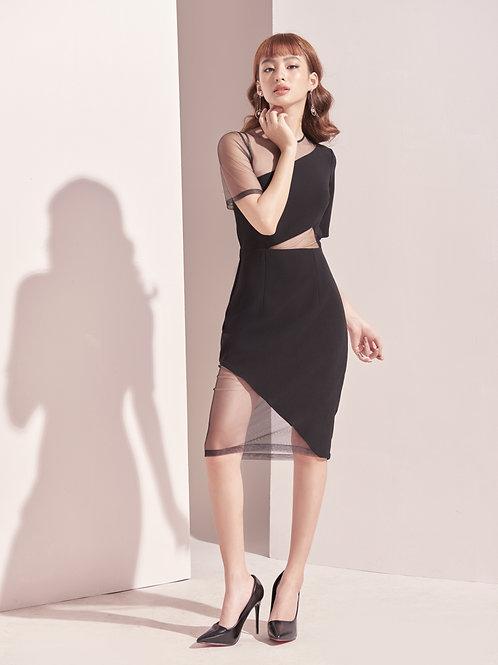 Cut-out Bodycon Dress With Mesh - Black