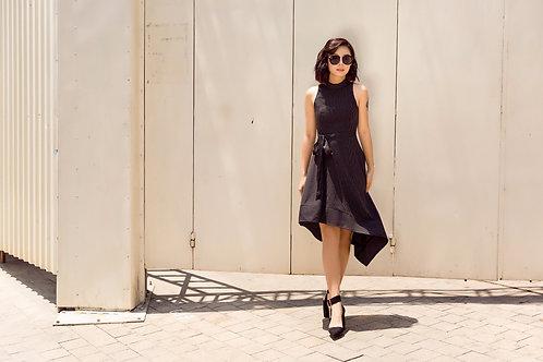 Asymmetrical Stripe Dress - Black