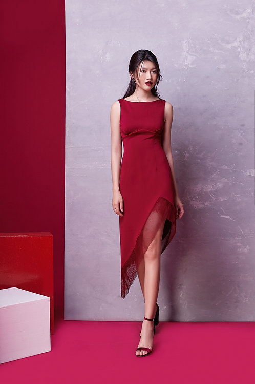 Assymetrical Dress With Sheer - Red