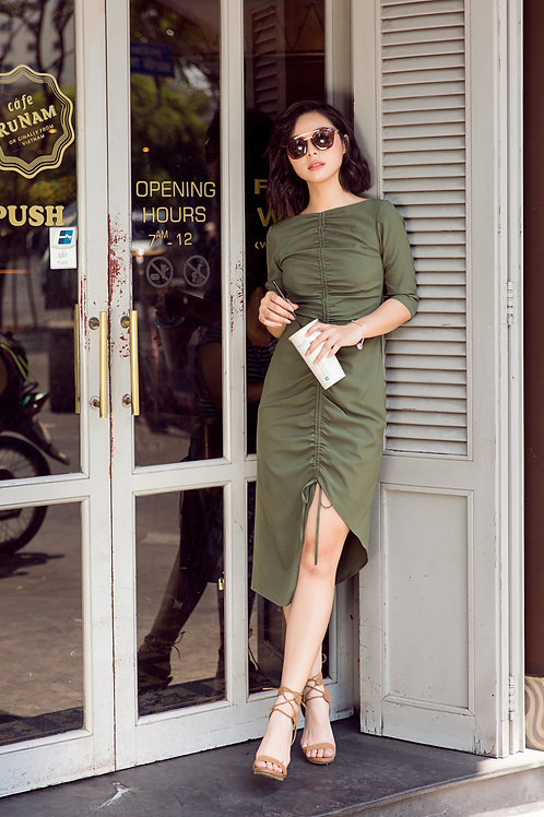 Draw String Dress - Green