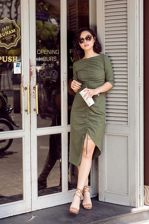 Draw String Dress - Green