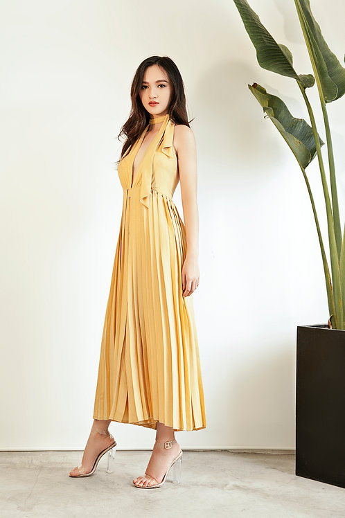 Pleated Backless Jumpsuit - Yellow Canary