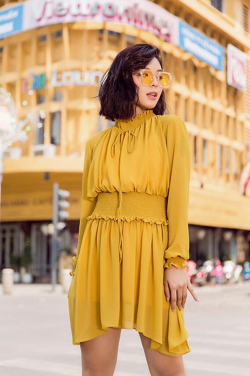 Chiffon Long Sleeve Dress -Yellow