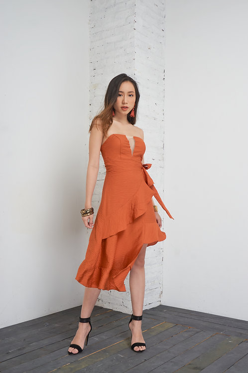 Asymmetrical Tube Dress - Orange