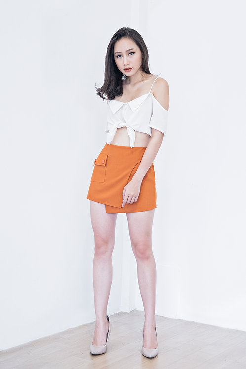 SKORT WITH BUTTON-SANDSTONE ORANGE