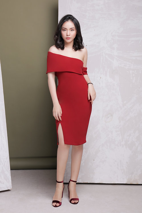 Off Shoulder Bodycon Dress - Red
