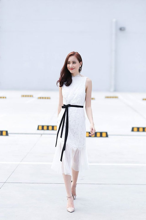 Backless Midi Lace Dress - White