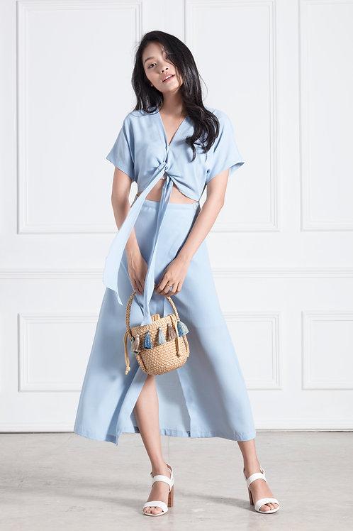 Cap Sleeve Wrap Dress - Blue