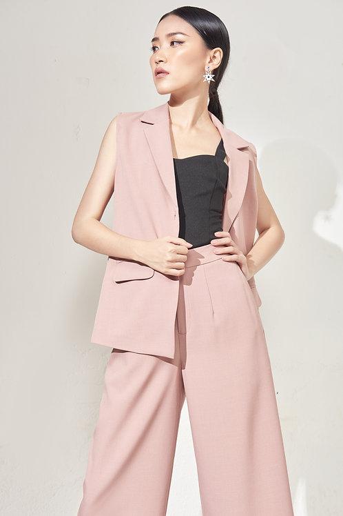 Sleeveless Blazer - Peony Pink