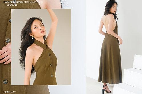 Halter shirt dress - Green
