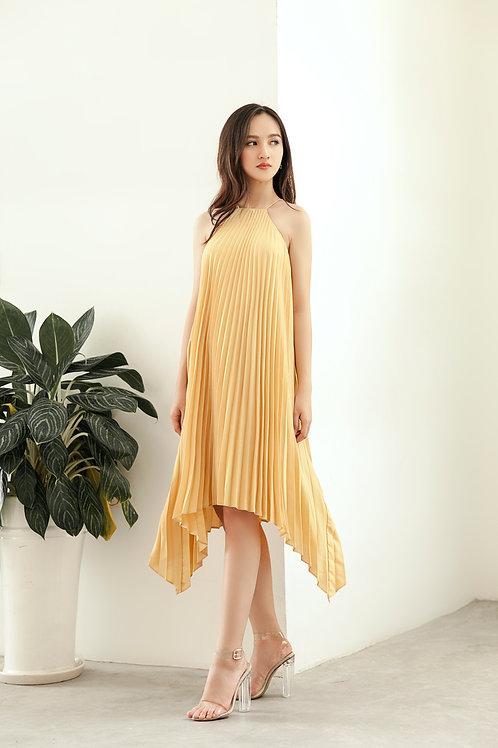 Pleated Hi-lo Dress - Yellow Canary