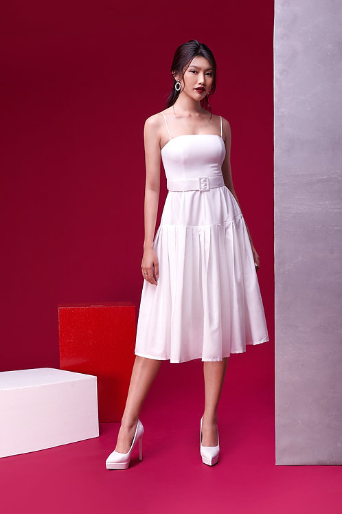 Midi Skater Dress With Belt - White