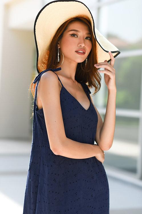 Ruffle Lace Dress - Navy