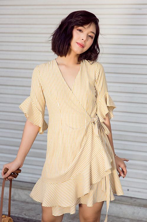 Wrap Dress With Ruffle - Yellow Stripe
