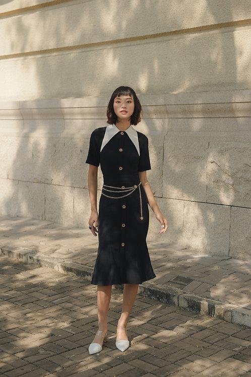 White Collar Dress - Black