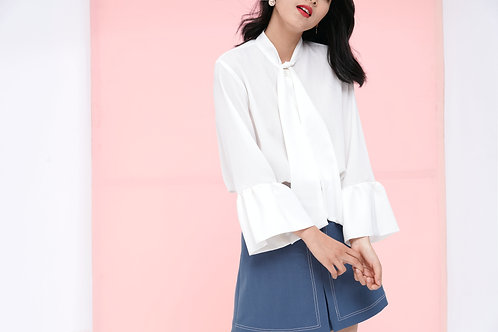 Puffy Sleeved Shirt with Bow - White