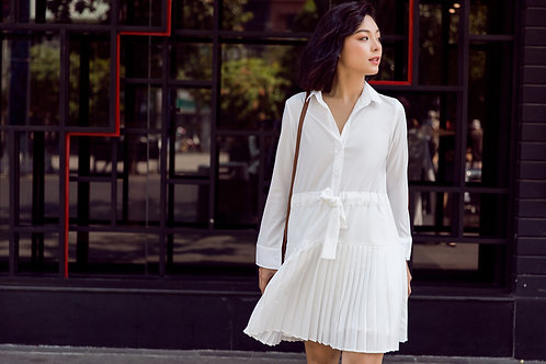Shirt Dress With Pleated - White