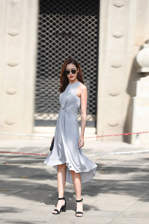 High low dress with ring - Grey