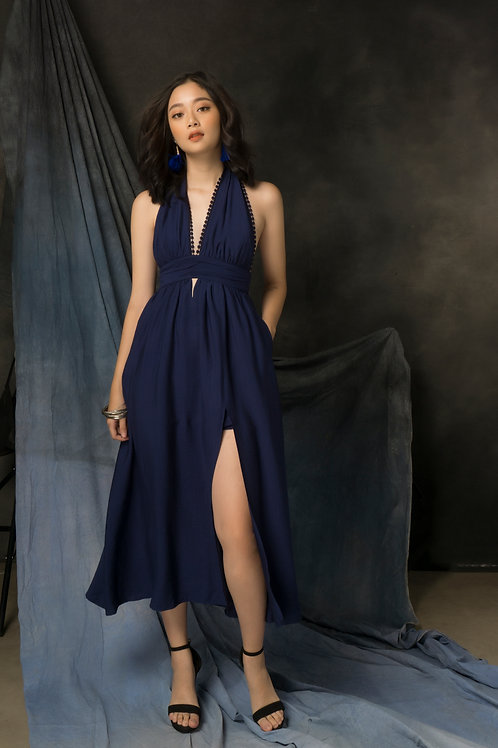 Halted Neck Maxi - Navy
