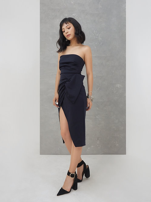 Tube Dress With Bow - Navy
