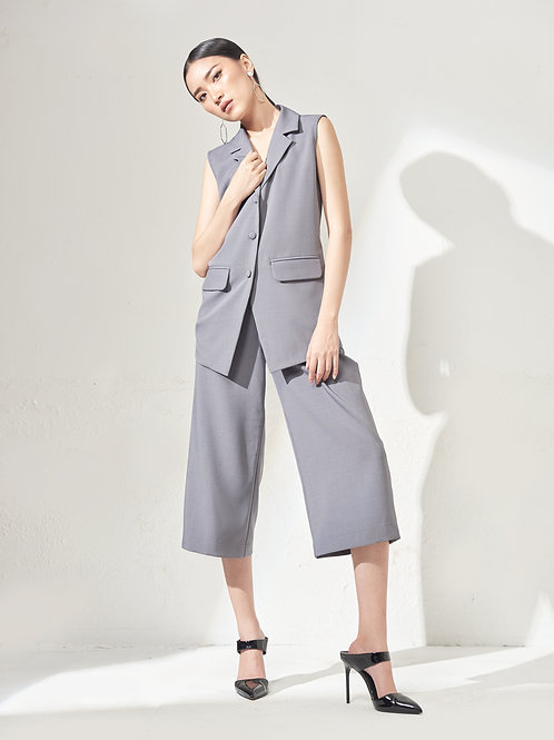 Sleeveless Blazer - Grey