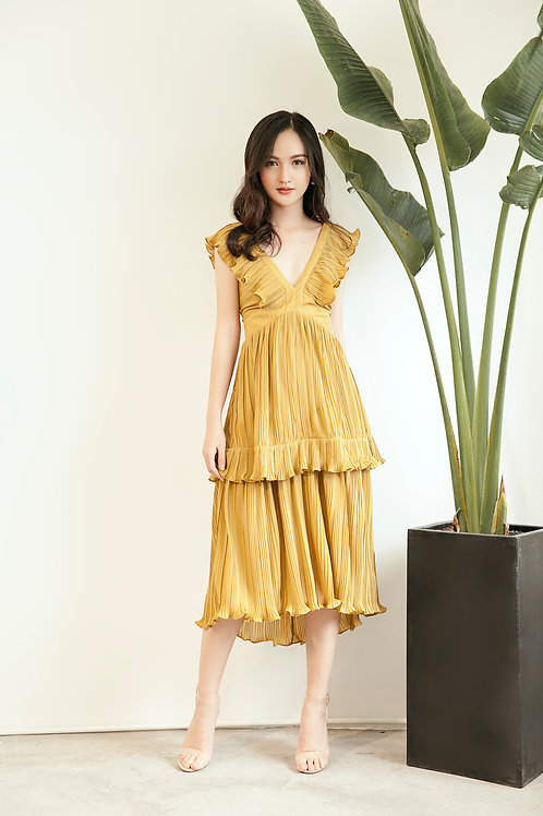Pleated Ruffle Dress - Yellow