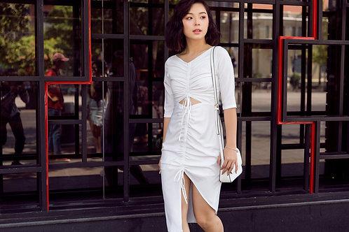 Draw String Dress - White