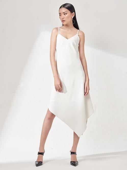 Asymmetrical Tank Dress - White