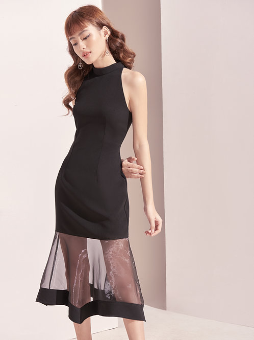High Neck Dress With Sheer - Black