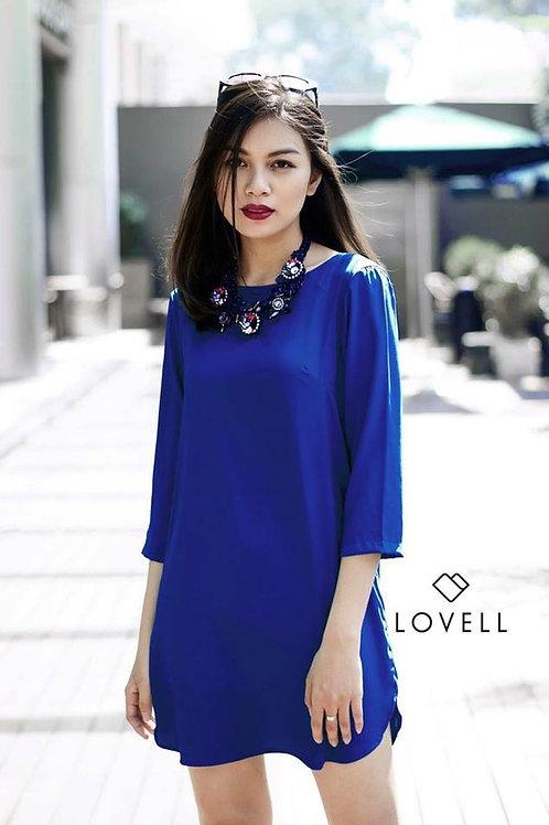 SILK SHIFT DRESS-BLUE