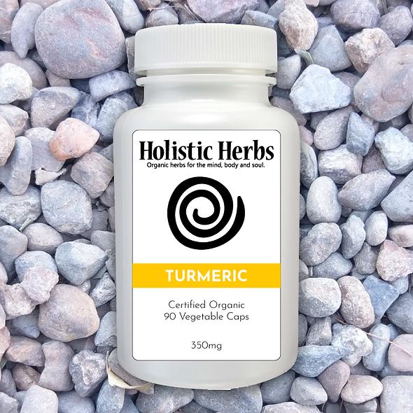Turmeric capsule supplement pill bottle
