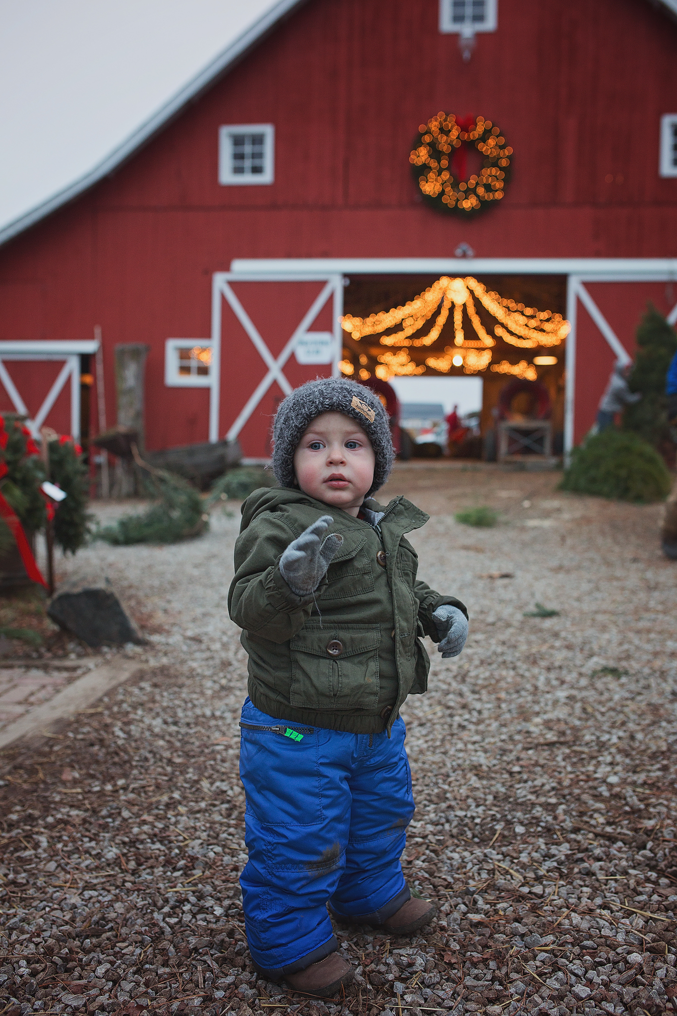 Grayson bundled up at barn