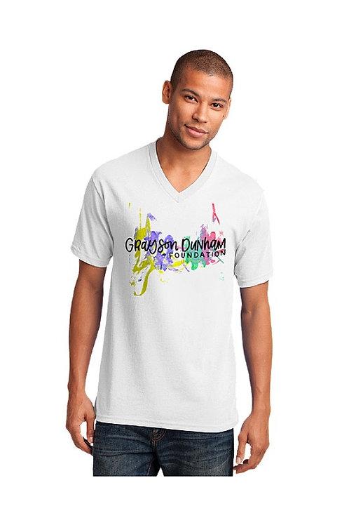 Adult Unisex White V-Neck T-Shirt