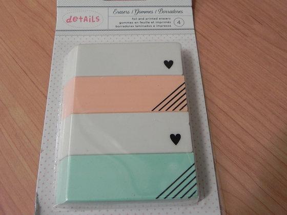 AC erasers pk4 foil & printed