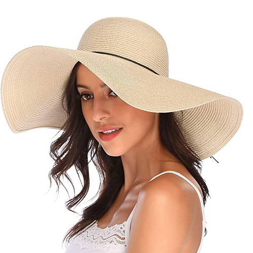 Wide Brim Straw Hat Floppy Foldable Roll up Cap Beach Sun Hat UPF 50+