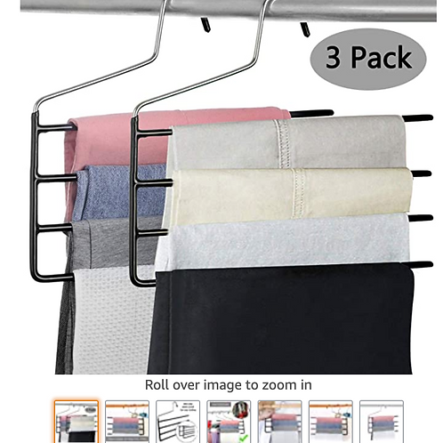 Pants Hanger Multi-Layer Jeans Trouser Hanger Closet Stainless Steel Rack Space