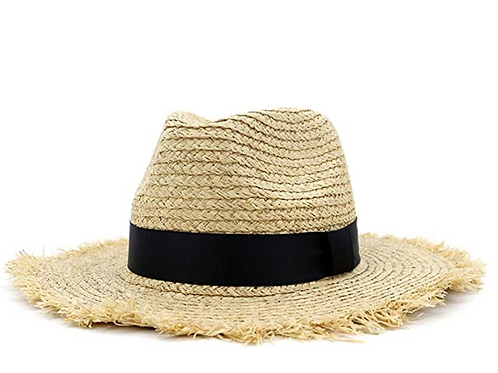 Wide Brim Straw Panama Hat Fedora Beach Raffia Straw Sun Hat