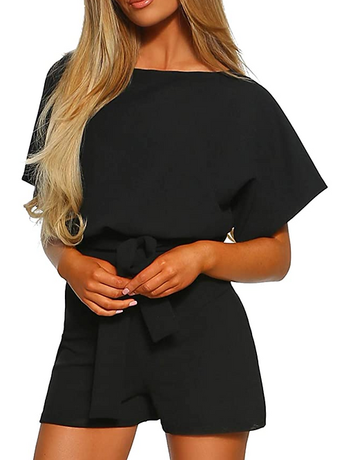 Casual Short Sleeve Belted Jumpsuit Long Pants Back Keyhole Overall Romper Plays